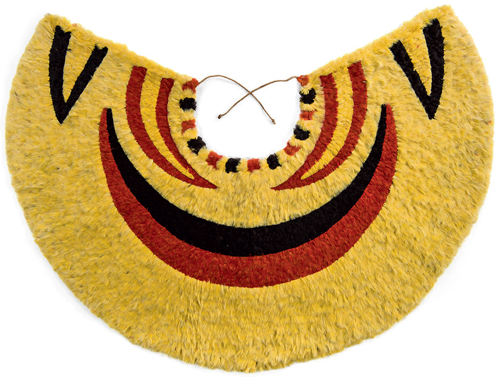 Ahu 'ula (cape), pre-1861, Yellow and black 'ō'ō (Moho nobilis) feathers, red 'i'iwi (Vestiaria coccinea) feathers, and olonā (Touchardia latifolia) fiber, Bernice Pauahi Bishop Museum, Honolulu, Ethnology Collection, 09670/1909.007. Photograph by Hal Lum and Masayo Suzuki, 2014.